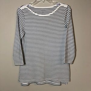 🎈Chico's Striped 3/4 Sleeve Cotton Top